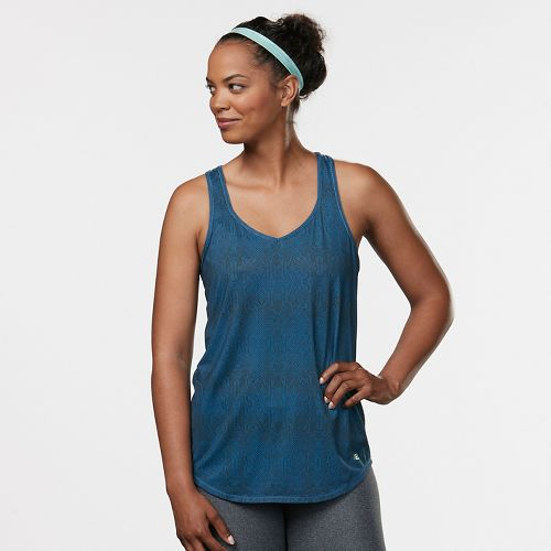 Womens Road Runner Sports Shades of Grey Printed Sleeveless & Tank Technical Tops - Teal ...