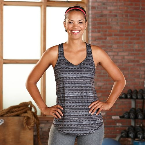 Womens Road Runner Sports Shades of Grey Printed Sleeveless & Tank Technical Tops - Tribal XS