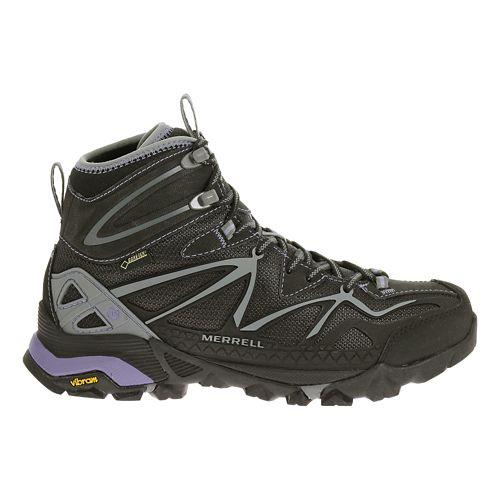 Womens Merrell Capra Sport Mid Gore-Tex Hiking Shoe - Black/Grey 8