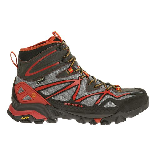 Mens Merrell Capra Sport Mid Gore-Tex Hiking Shoe - LT Grey/Red 8