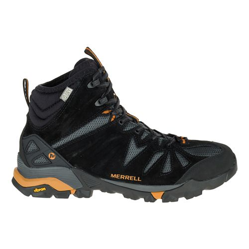 Mens Merrell Capra Mid Waterproof Hiking Shoe - Black/Orange 9