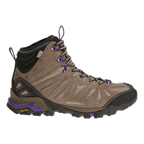 Womens Merrell Capra Mid Waterproof Hiking Shoe - Taupe 5.5