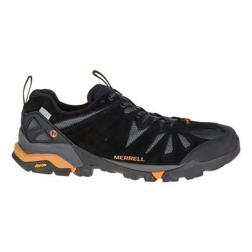 Mens Merrell Capra Waterproof Trail Running Shoe - Black/Orange 10.5