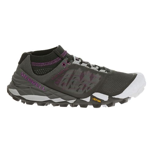 Womens Merrell All Out Terra Trail Running Shoe - Black/Purple 7.5