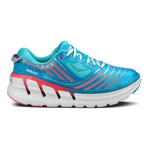 Womens Hoka One One Vanquish Running Shoe - Blue/Neon Pink 9