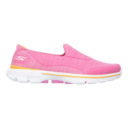 Womens Skechers GO Walk 3 Super Sock 3 Casual Shoe - Hot Pink 9