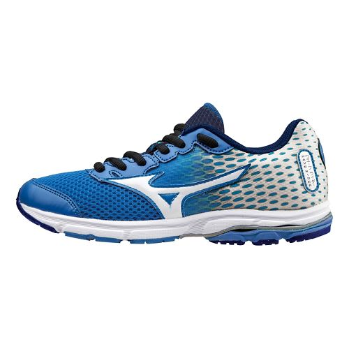 Kids Mizuno Wave Rider 18 Running Shoe - Blue/White 5.5C
