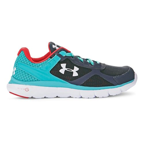 Womens Under Armour Micro G Velocity RN Running Shoe - Stealth Grey/Neptune 6.5