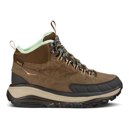 Womens Hoka One One TOR Summit Mid WP Hiking Shoe - Brown/Patina Green 9.5
