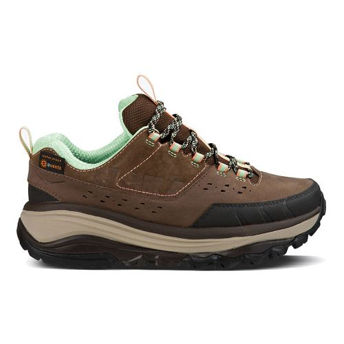 Womens Hoka One One TOR Summit WP Hiking Shoe - Brown/Patina Green 7.5