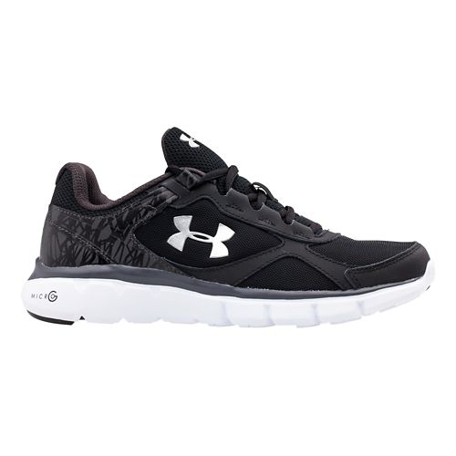 Kids Under Armour BGS Micro G Velocity RN Running Shoe - Black/Silver 5.5Y