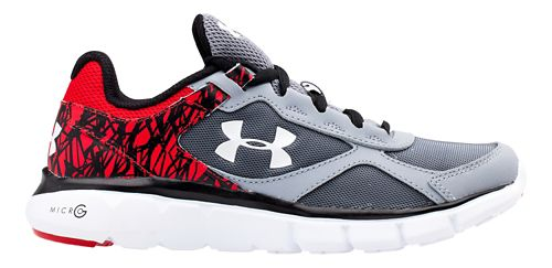 Kids Under Armour BGS Micro G Velocity RN Running Shoe - Steel/Red 7Y
