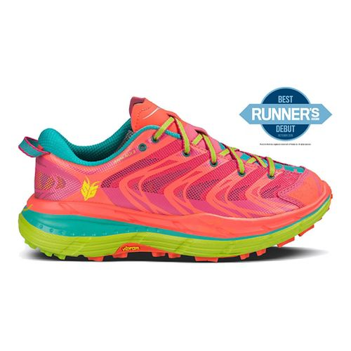 Womens Hoka One One Speedgoat Running Shoe - Neon Coral/Aqua 7