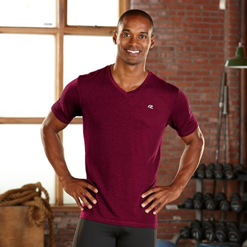 Mens R-Gear Afterburn V-Neck Short Sleeve Technical Tops - Run Burgundy S