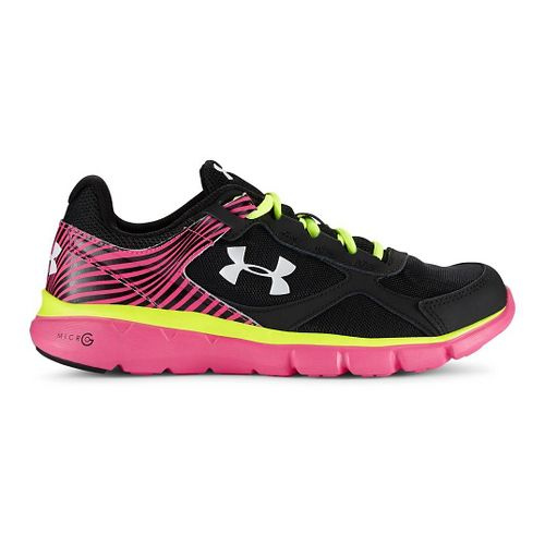 Kids Under Armour Micro G Velocity RN Running Shoe - Black/Rebel Pink 7Y