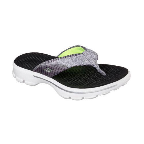 Womens Skechers GO Walk Pizazz Sandals Shoe - Black/White 7