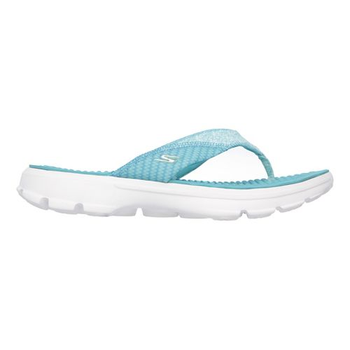 Womens Skechers GO Walk Pizazz Sandals Shoe - Grey/Pink 10