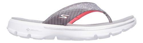 Womens Skechers GO Walk Pizazz Sandals Shoe - Grey/Pink 10