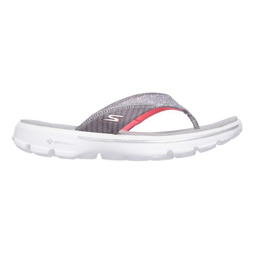 Womens Skechers GO Walk Pizazz Sandals Shoe - Grey/Pink 9