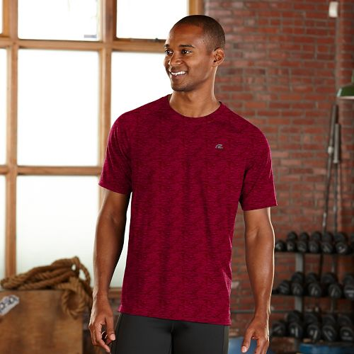 Mens Road Runner Sports Training Day Short Sleeve Technical Tops - Run Burgundy XL