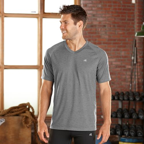 Mens Road Runner Sports Training Day V-Neck Short Sleeve Technical Tops - Cinderblock M