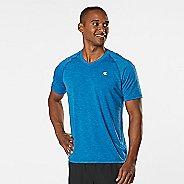 Mens Road Runner Sports Training Day V-Neck Short Sleeve Technical Tops - Pilot Blue XXL