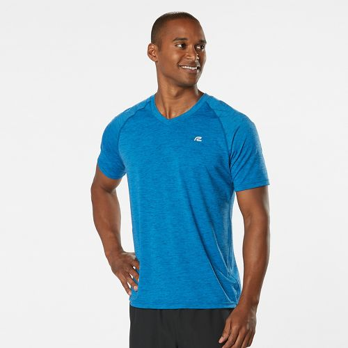 Mens Road Runner Sports Training Day V-Neck Short Sleeve Technical Tops - Pilot Blue XXL