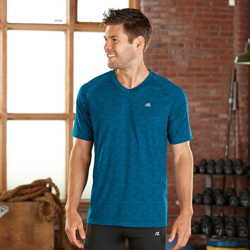Mens Road Runner Sports Training Day V-Neck Short Sleeve Technical Tops - Tempo Teal XXL ...