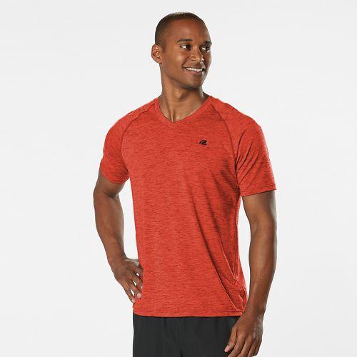 Mens Road Runner Sports Training Day V-Neck Short Sleeve Technical Tops - Blaze M