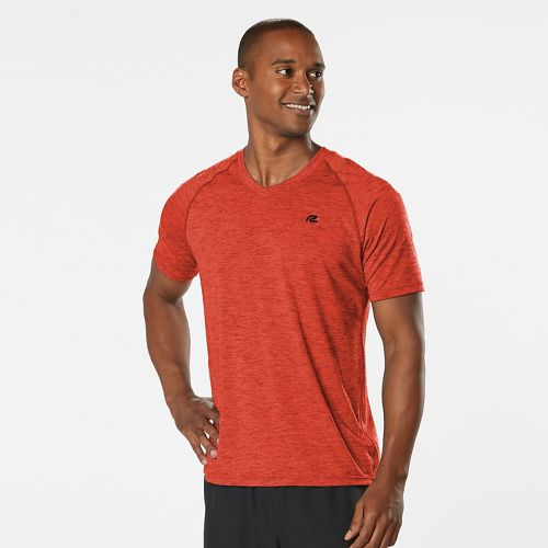 Mens Road Runner Sports Training Day V-Neck Short Sleeve Technical Tops - Blaze M