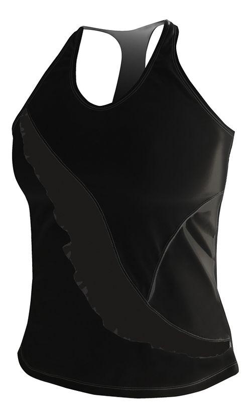 Womens De Soto Carrera Ruffle Full Sleeveless & Tank Technical Tops - Black L