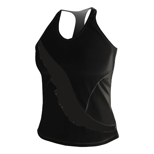 Womens De Soto Carrera Ruffle Full Sleeveless & Tank Technical Tops - Black/Print L