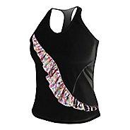 Womens De Soto Carrera Ruffle Full Sleeveless & Tank Technical Tops - Black/Print M