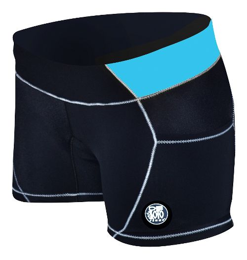 Womens De Soto Carrera Micro Tri Unlined Shorts - Black/Turquoise L