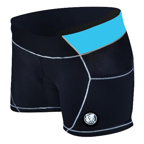Womens De Soto Carrera Micro Tri Unlined Shorts - Black/Turquoise S