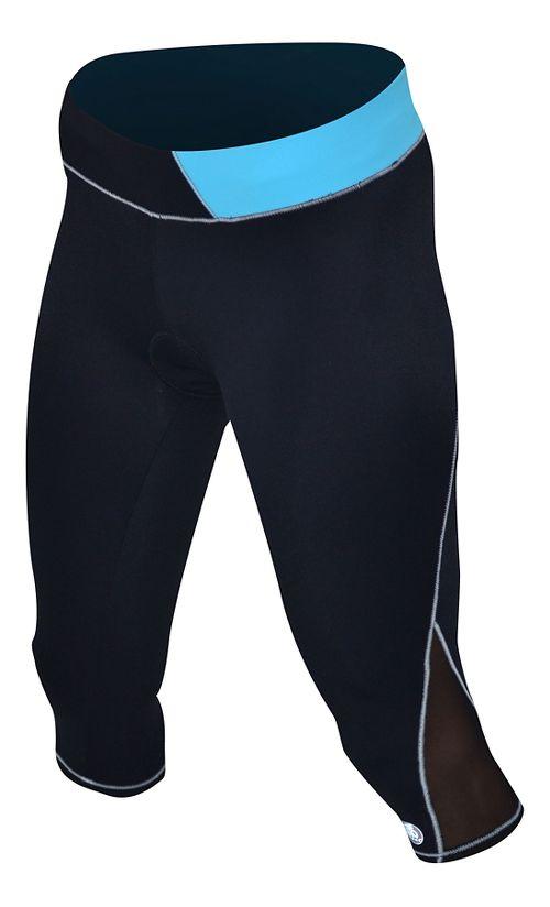 Womens De Soto Carrera Tri Capris Tights - Black/Turquoise S