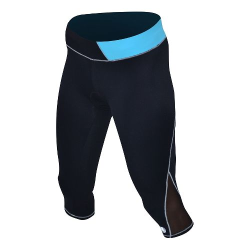 Womens De Soto Carrera Tri Capris Tights - Black/Turquoise S