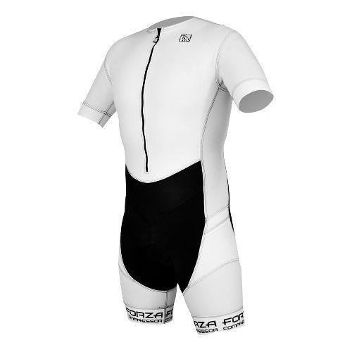 Mens De Soto Riviera Sleeved Trisuit Triathlon UniSuits - White/Black L