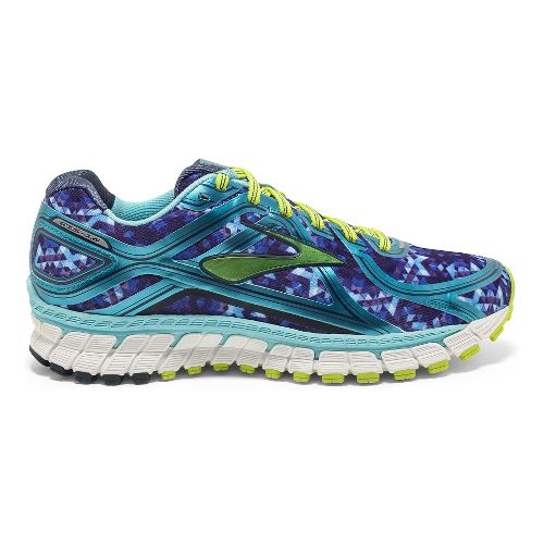 Womens Brooks Adrenaline GTS 16 Kaleidoscope Running Shoe - Blue/Lime 6