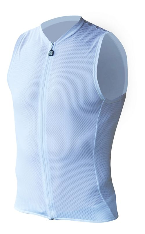 Mens De Soto Riviera SDS Tri Top - Full Zip Sleeveless & Tank Technical Tops - White M