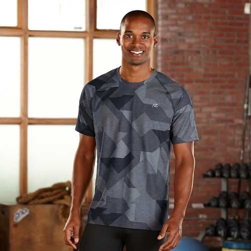 Mens R-Gear Training Day Printed Short Sleeve Technical Tops - Charcoal Geo XXL