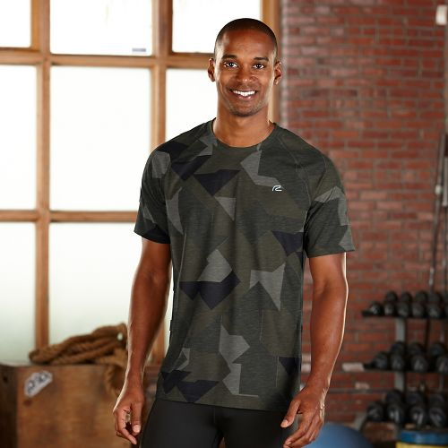 Mens R-Gear Training Day Printed Short Sleeve Technical Tops - Olive Night Geo S