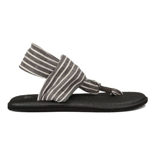 Womens Sanuk Yoga Sling 2 Prints Sandals Shoe - Charcoal/Natural Stripes 9