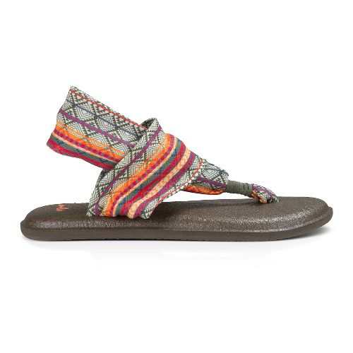 Womens Sanuk Yoga Sling 2 Prints Sandals Shoe - Olive/Multi Tribal Stripe 8