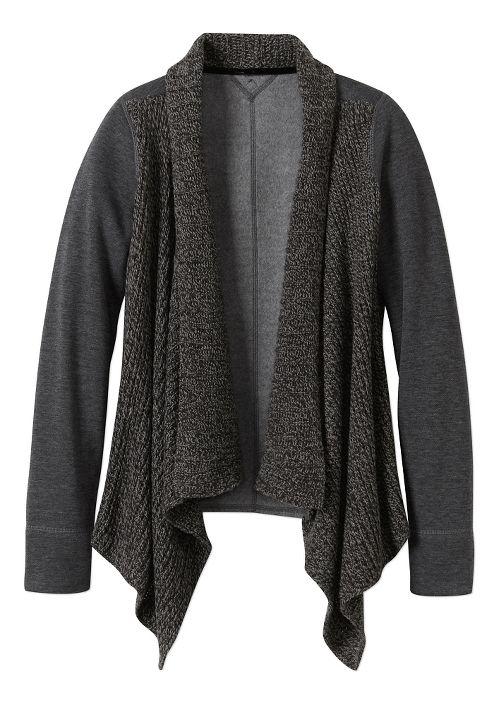 Womens prAna Demure Cardigan Long Sleeve Non-Technical Tops - Charcoal XL
