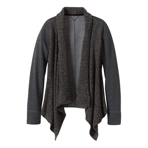 Womens prAna Demure Cardigan Long Sleeve Non-Technical Tops - Charcoal L