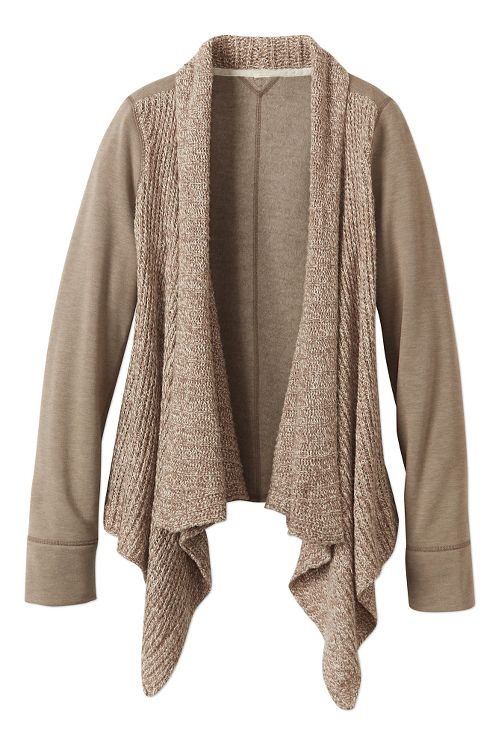 Womens prAna Demure Cardigan Long Sleeve Non-Technical Tops - Dark Khaki M