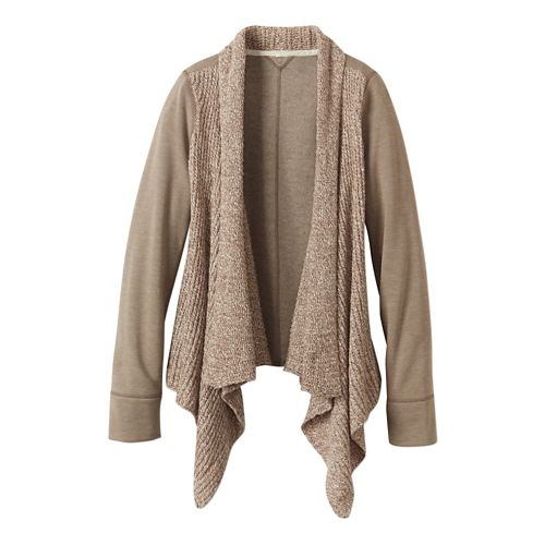 Womens prAna Demure Cardigan Long Sleeve Non-Technical Tops - Dark Khaki XL