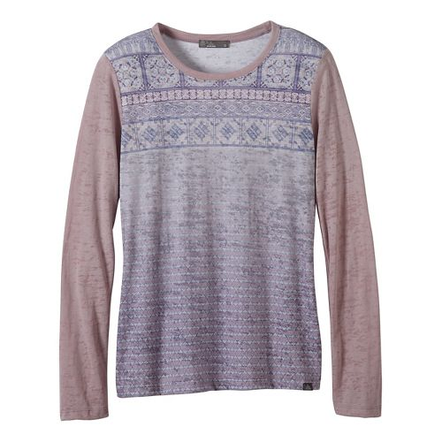 Womens prAna Lottie Long Sleeve Non-Technical Tops - Grey/Grey M