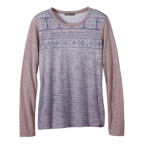 Womens prAna Lottie Long Sleeve Non-Technical Tops - Grey/Grey XL